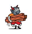 damn carries firewood cartoon vector image vector image