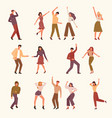 dancing people young persons male and female vector image vector image