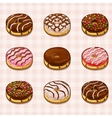 donuts with different fillings and frostings vector image vector image