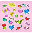 Fashion patch badges Pop art Hearts set Stickers vector image vector image