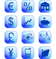 financial icons blue vector image vector image