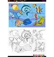 fish characters group color book vector image vector image