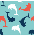Flat Design Dolphin seamless pattern background vector image