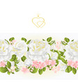 Floral border seamless background white roses