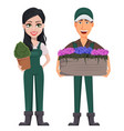 gardeners man and woman vector image vector image