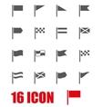 grey flag icon set vector image vector image