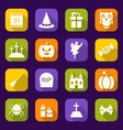 Halloween Flat Icons with Long Shadows vector image vector image