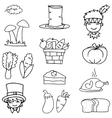 Hand draw of thanksgiving set doodles vector image vector image