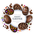 happy easter round card with chocolate bunny and vector image