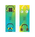 headphone headset listening to stereo sound music vector image vector image