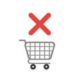 icon concept of shopping cart with x mark vector image vector image