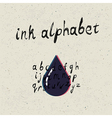 ink hand drawn alphabet vector image vector image