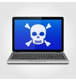 Laptop with skull on the blue screen vector image vector image