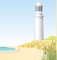 lighthouse on coast scene vector image