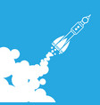 linear rocket icon with clouds vector image