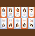 merry christmas penguins cartoon animals birds vector image