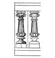 modern baluster metal vintage engraving vector image vector image