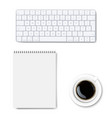 office desk table with office accessories vector image vector image