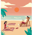 people spend their holidays on the beach under the vector image vector image