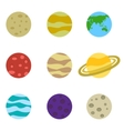 Planets colorful set icons vector image