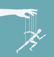puppet marionette on ropes is running man vector image vector image