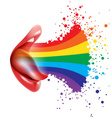 rainbow in open mouth vector image