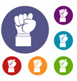raised up clenched male fist icons set vector image vector image