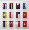 realistic flags countries symbolic 3d icons set vector image vector image