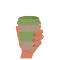 reusable eco cup coffee hold vector image