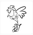 Rooster black line art sketch of cock vector image