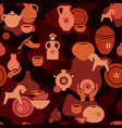 seamless pottery pattern with vases and others vector image vector image