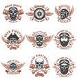 set of biker emblems racer skull with crossed vector image vector image