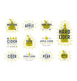 set of hard cider label and logo vector image
