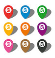 set of nine colorful map pointers with home icon vector image