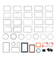 set of round rectangular black and colour frames vector image vector image