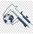 silhouette calipers measuring the earth vector image vector image