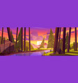summer forest with river and mountains at sunset vector image
