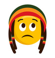 thinking emoji with a reggae hat vector image vector image