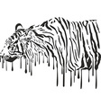 Tiger abstract painting on a white background vector image vector image