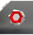 Volume hexagon logo The hexagonal flower White vector image