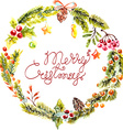 watercolor christmas floral frame vector image vector image