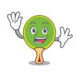 waving ping pong racket character cartoon vector image vector image