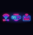 wifi neon sign collection wifi text design vector image vector image