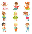 young children dressed in cute kids fashion vector image vector image