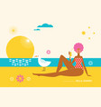 young woman on beach hello summer vector image