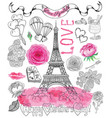 design set with the eiffel tower and love symbols vector image