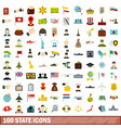100 state icons set flat style vector image vector image
