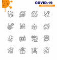 16 line viral virus corona icon pack vector image vector image