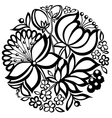 black-and-white floral arrangement of a circle