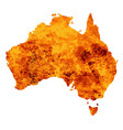 australia map with flames background vector image
